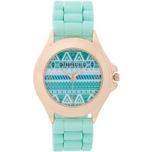 Rose gold/mint rubber watch.